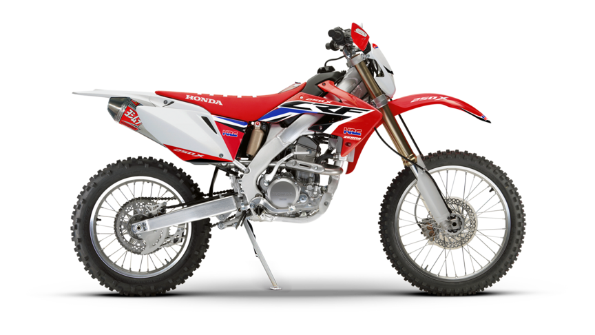 Side on, right-facing red CRF250X.