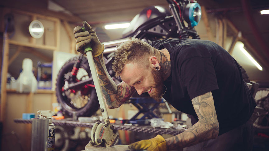 Russ Brown creating some bespoke parts.