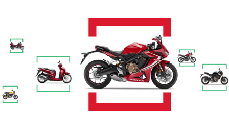 Combination of side shots of various Honda motorcycles