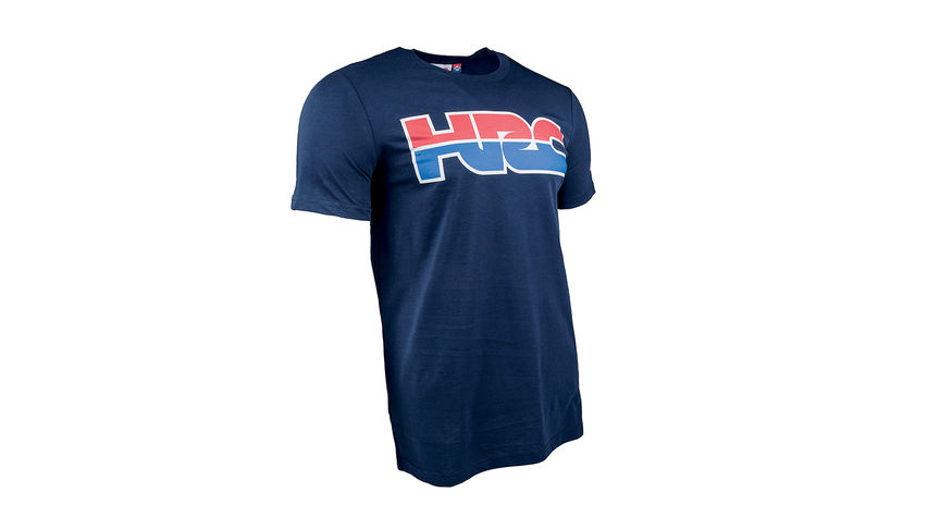 5ecef154e001e Blue HRC racing T-shirt with Honda Racing Corporation logo.