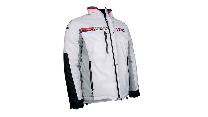 White Honda Winter jacket with HRC team colours and logo.