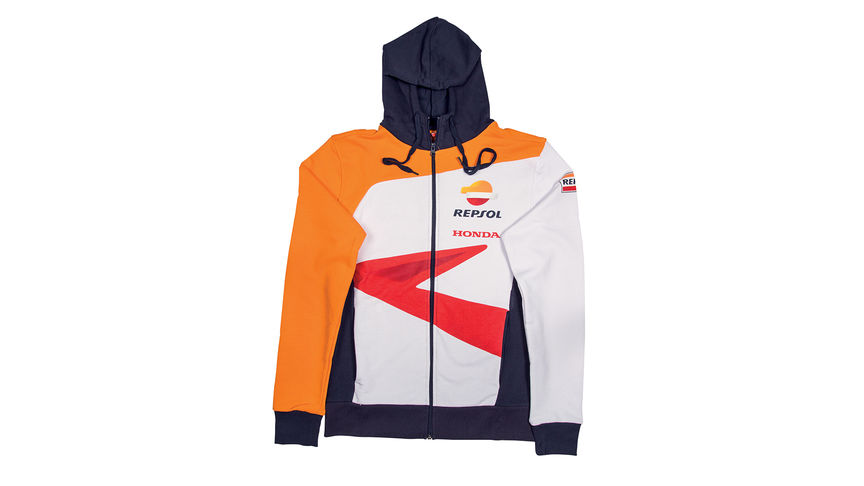 Honda hoodie with MotoGP team colours and Repsol logo.