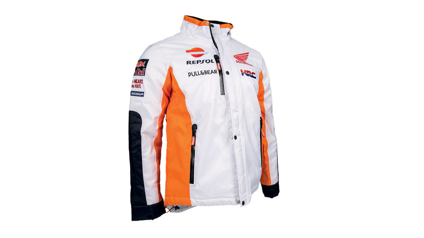 White Honda Winter jacket with MotoGP team colours and Repsol logo.