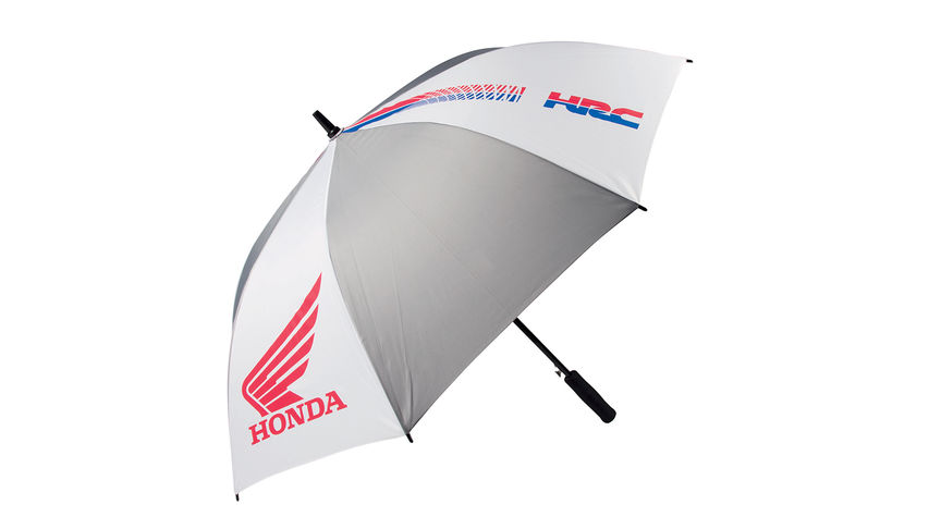 Grey and white Honda HRC Umbrella in HRC colour with Honda wings logo.