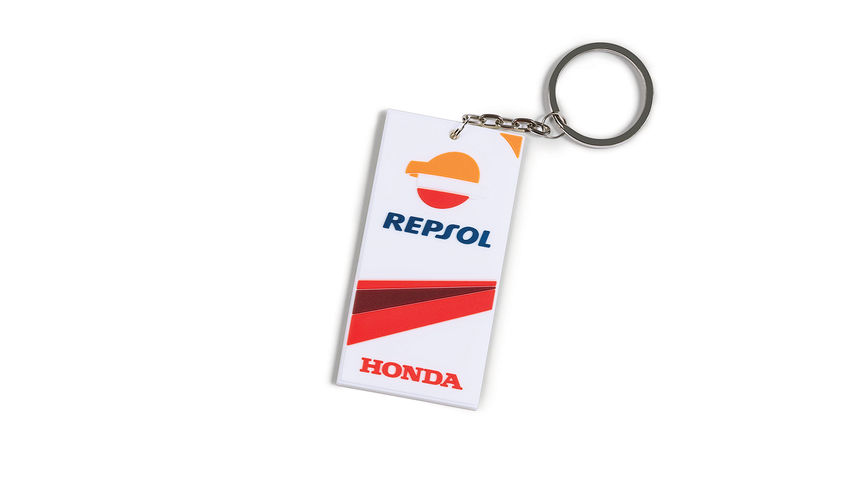 Key ring with Honda MotoGP colours and Repsol logo.