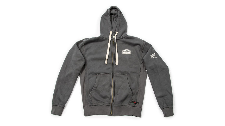 Grey hoodie with vintage Africa Twin logo