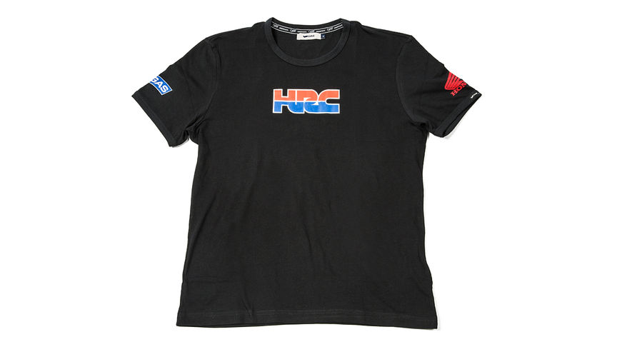 Black T-shirt with Honda Racing Corporation logo.