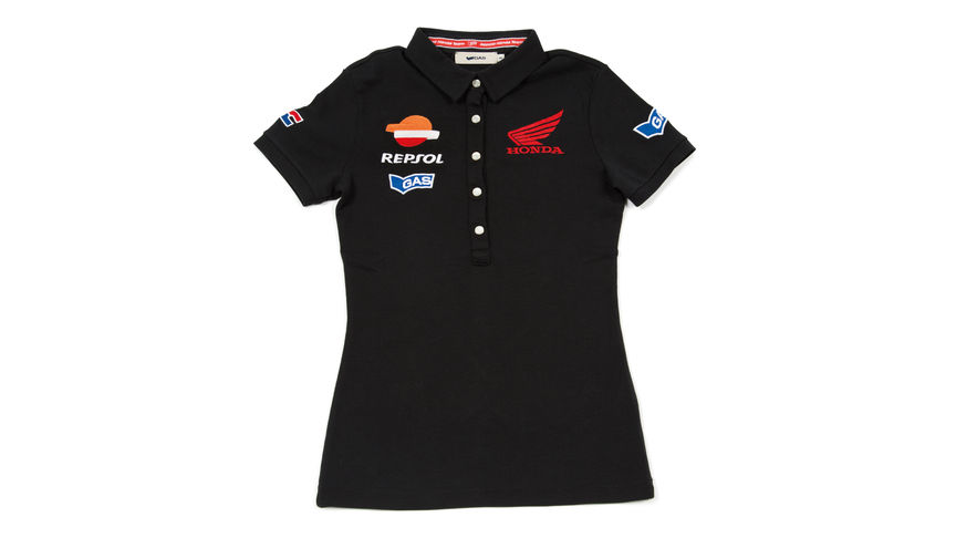 Black tight fit polo shirt with Repsol logo.