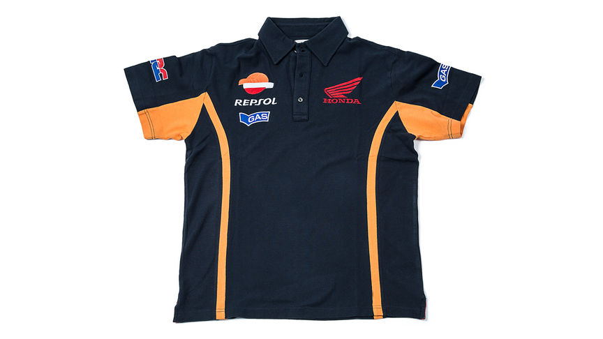 Blue polo shirt with Repsol logo.
