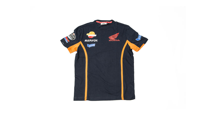 Blue T-shirt with Repsol logo for kids