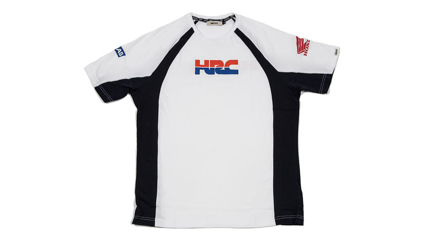White and black T-shirt with Honda Racing Corporation logo