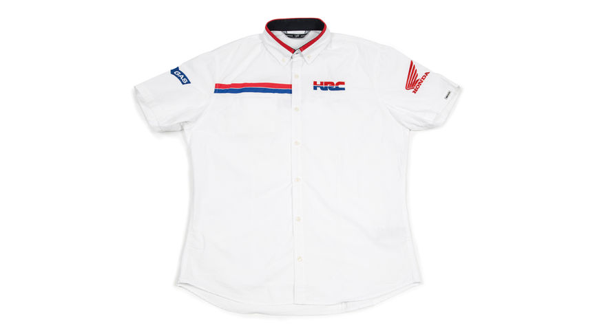 White shirt with Honda Racing Corporation logo.