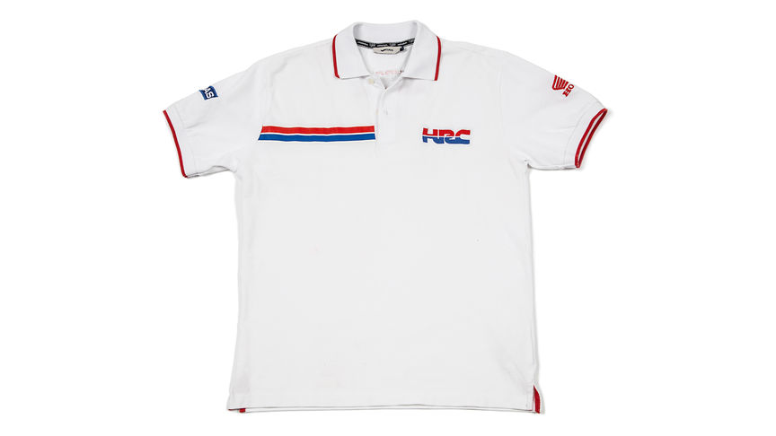 White polo shirt with Honda Racing Corporation logo