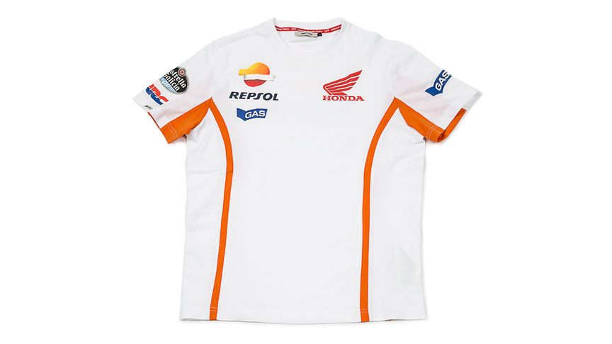 White T-shirt with Repsol logo.