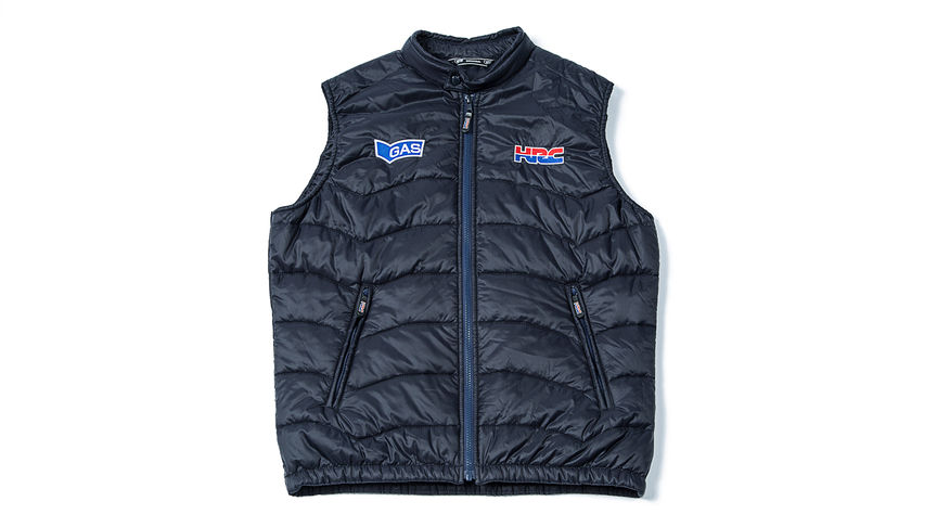 Blue gilet with Honda Racing Corporation logo