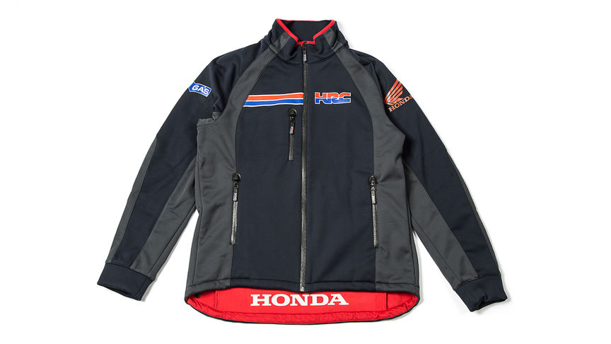 Blue zip sweater with Honda Racing Corporation logo