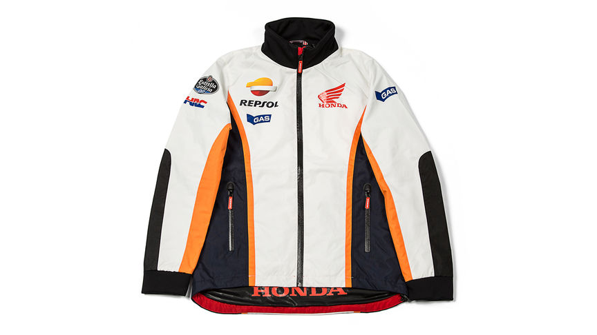 White jacket with Repsol logo