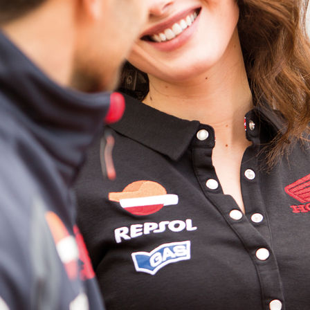 Smiling woman wearing Honda shirt