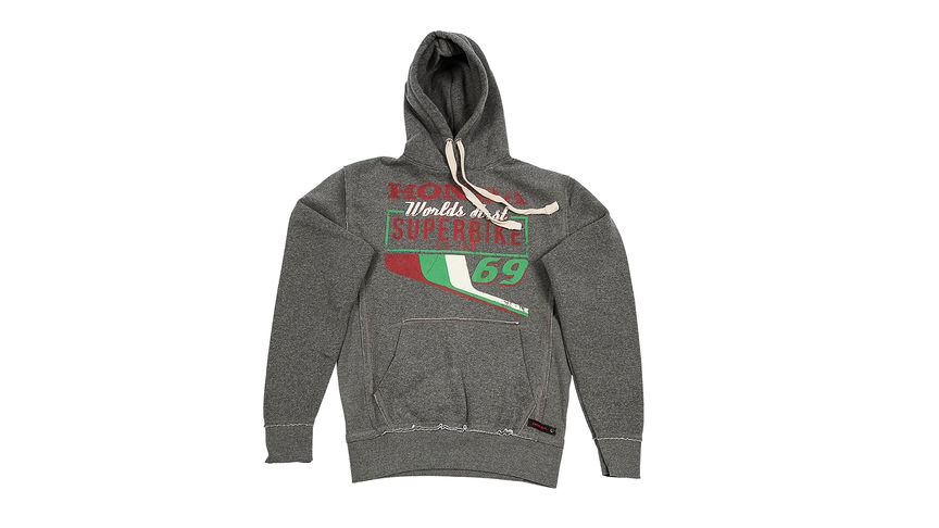 Grey hoodie with superbike design