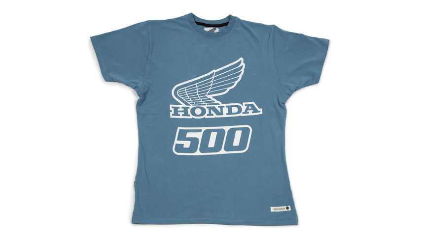 Blue T-shirt with '500' design.