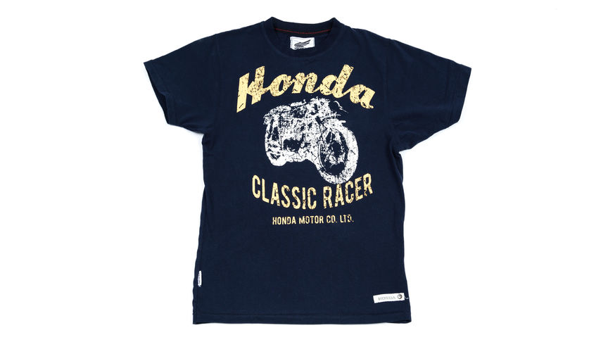 Blue T-shirt with distressed 'classic racer' design.