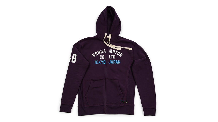 Purple hoodie with classic Honda lettering.