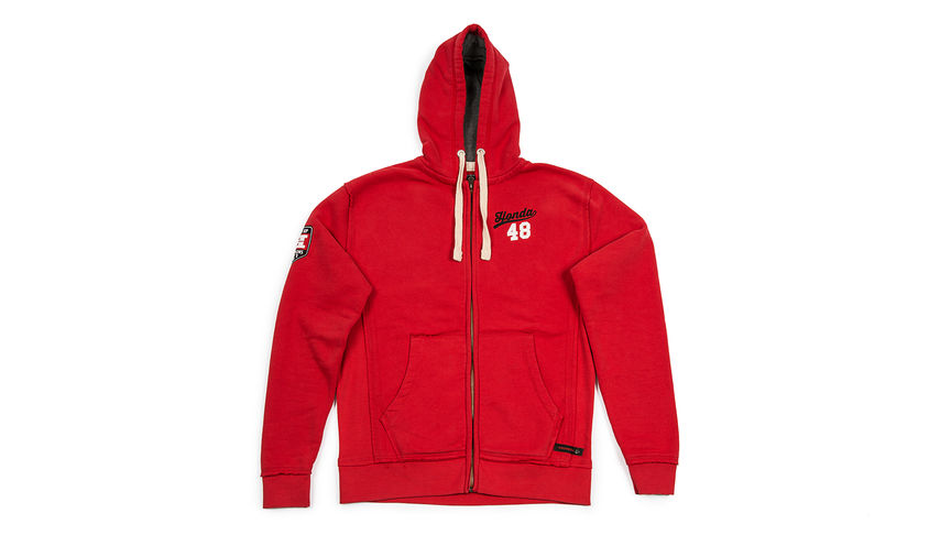 Red hoodie with '48' design.