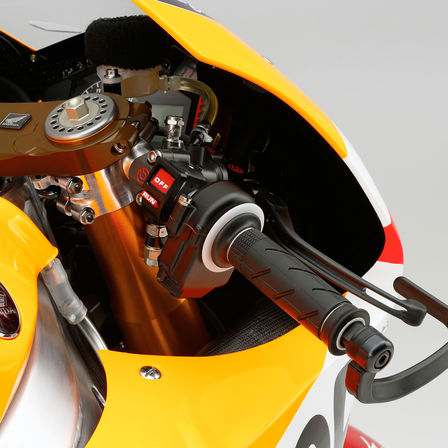 Close up of MotoGP Honda Super Sport bike controls.