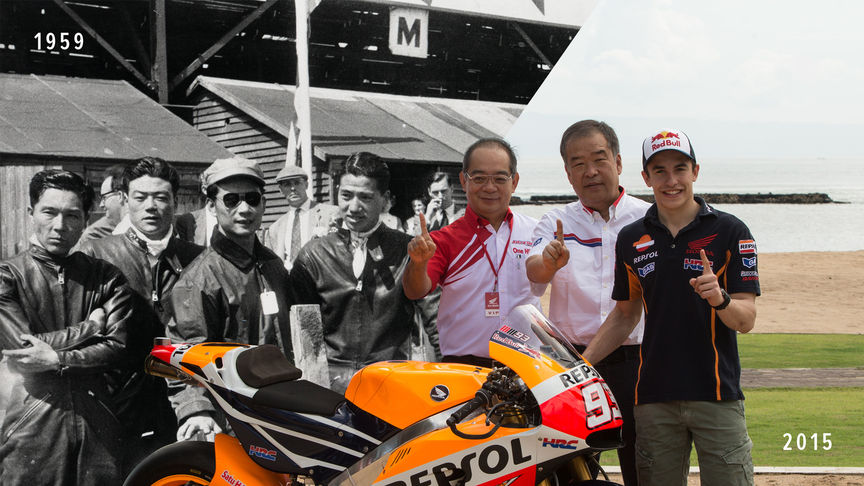 Honda motorcycle racers, then and now.
