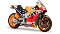 Side facing Honda motorcycle with Repsol livery.