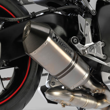 Close up of Honda motorcycle exhaust.