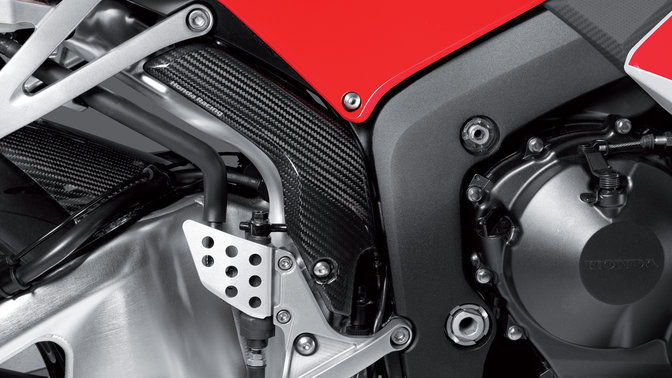 Close up of Honda motorcycle accessories.