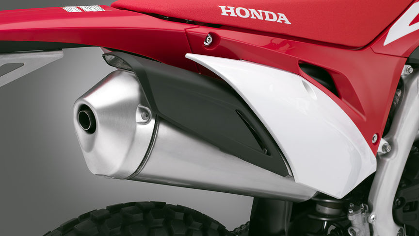 CRF450L close up of the exhaust pipe