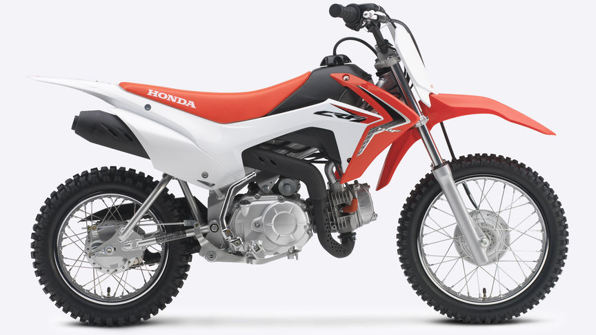 Side on, right-facing red CRF110F