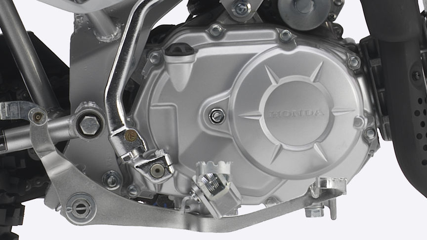 Close-up of CRF110F engine.