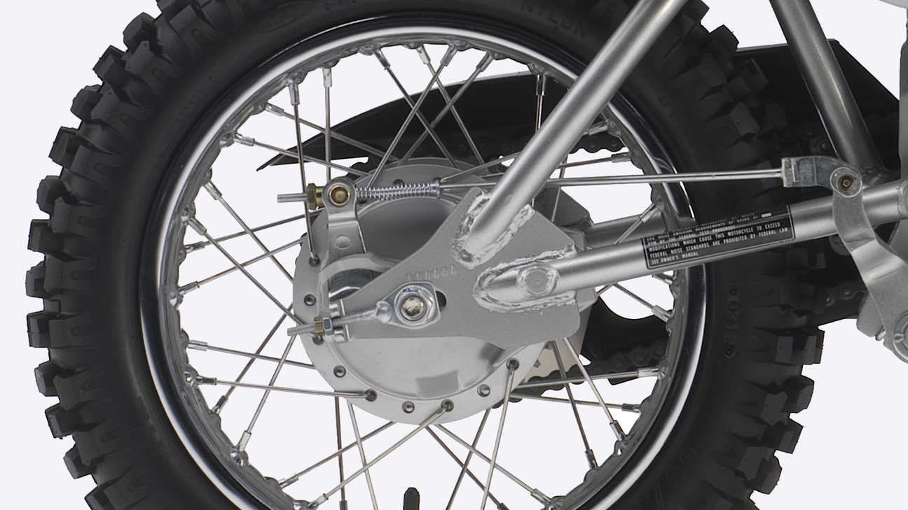Close-up of CRF110F rear wheel.