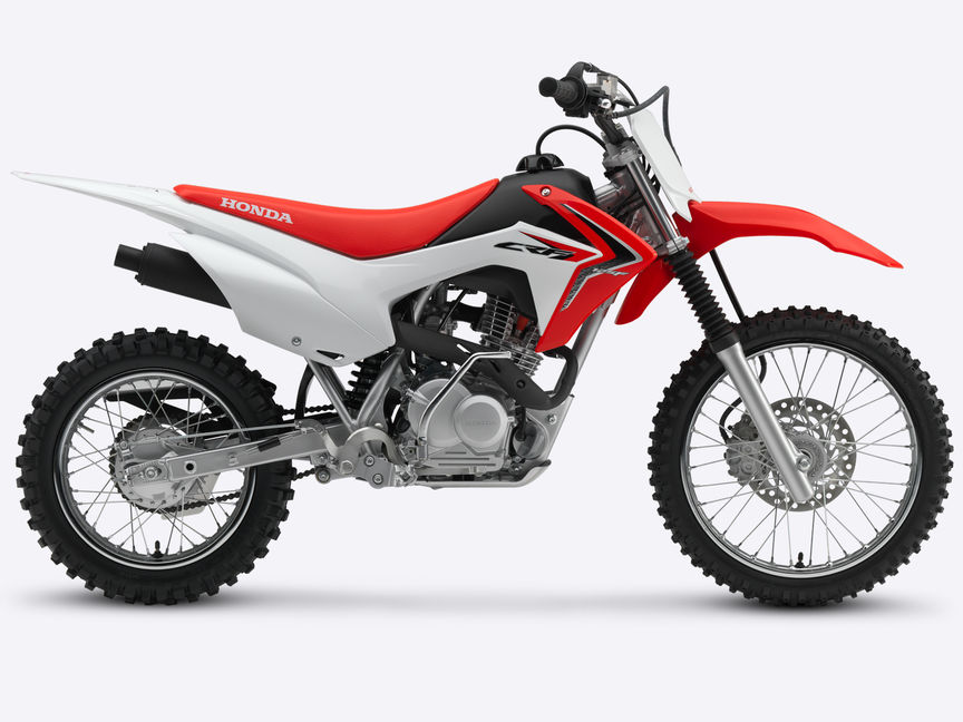 Side on, right-facing red CRF125F.