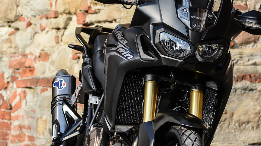 An Termignoni exhaust for the Africa Twin motorcycle