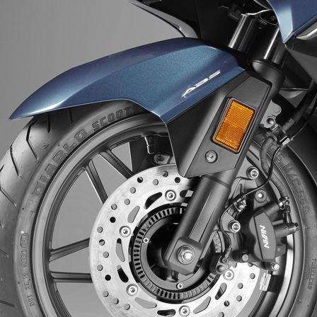 Close up of Honda Forza 300 front wheel.