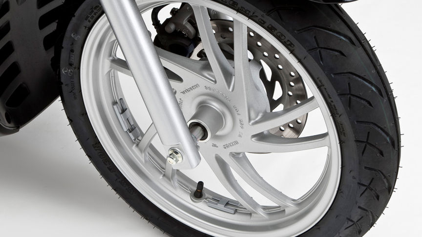 Close-up of front wheel.