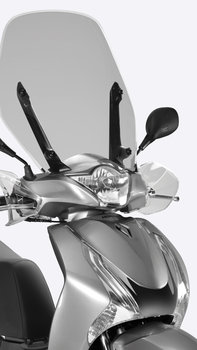 Front on close-up of SH125i, focusing on headlight, windscreen and indicators.