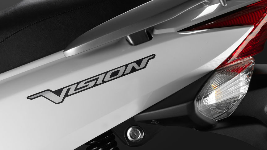 Close up of Vision badge on fairing.