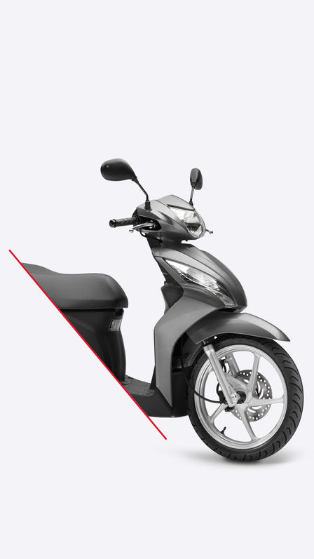 Side on view of grey Vision scooter, bisected to show front half only.