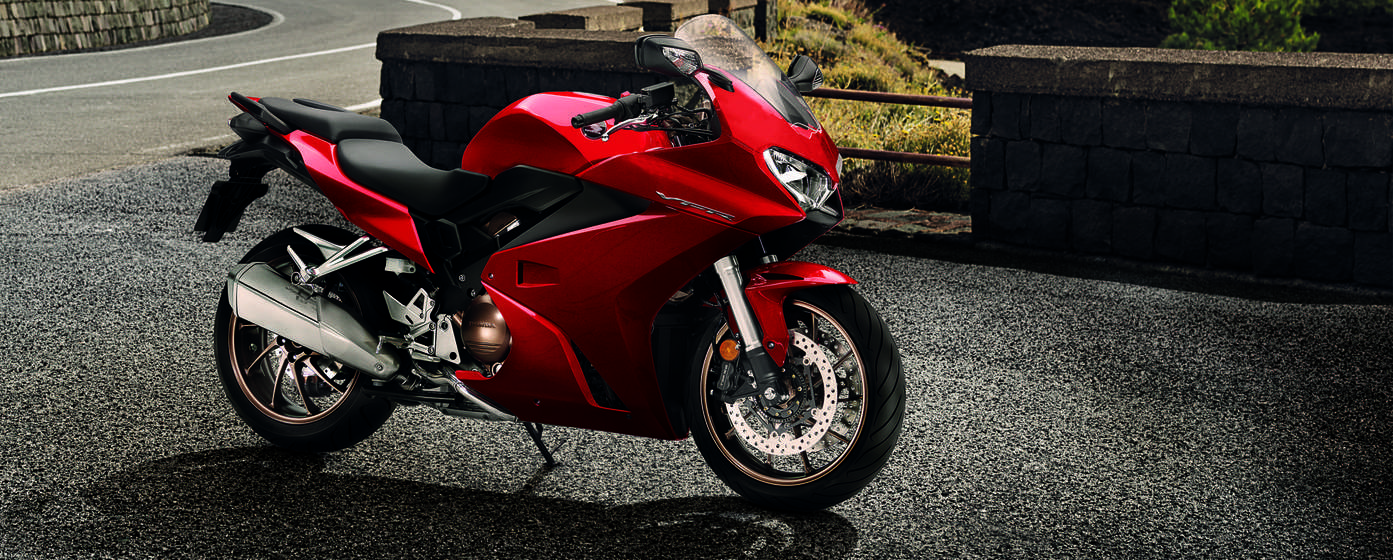 Honda VFR800F by the side of a road.
