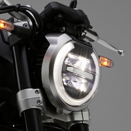 Close up of Honda CB1000R Neo Sports Café headlight.