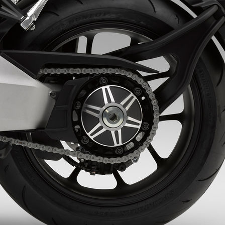 Close up of Honda CB1000R Neo Sports Café rear wheel.