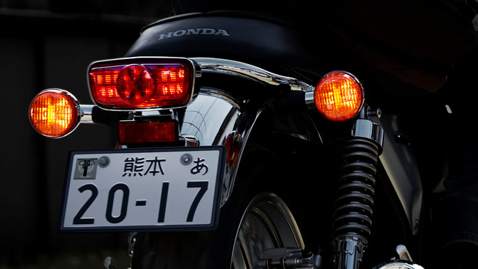 Rear shot of Honda CB1100 EX headlights and numberplate.