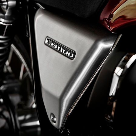 Close up shot of Honda CB1100 EX aluminium side panel.