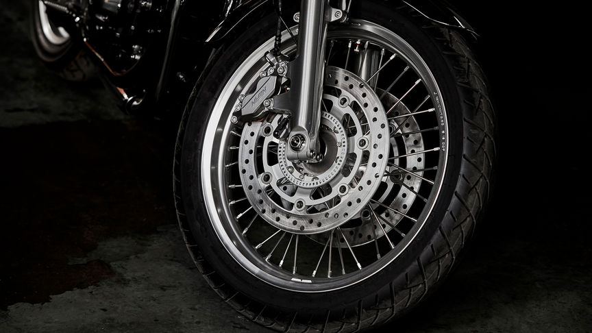 Close up shot of Honda CB1100 EX wheel.