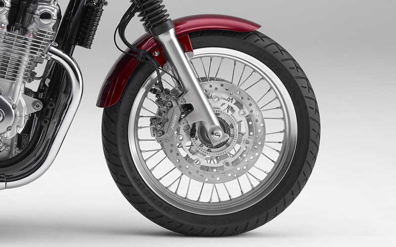 Close up shot of Honda CB1100EX wheel.